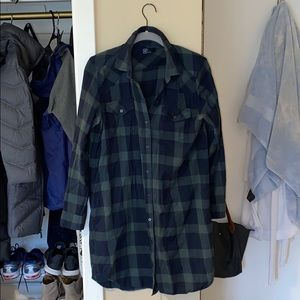 GAP PLAID LONG SLEEVE T SHIRT DRESS